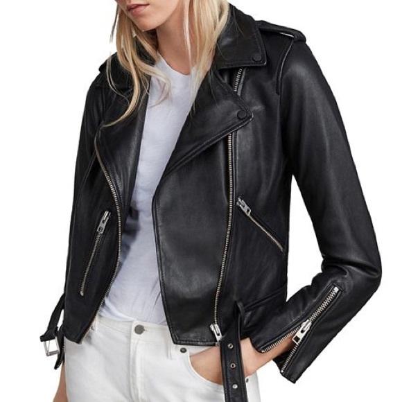 04ee40f53 AllSaints • Balfern Leather Biker Jacket US10 NWT NWT